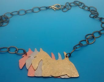 Scottish Terrier Scottie Dog Trio Necklace