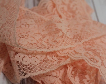 Pink Floral Lace, Craft Supply, Sewing Notion, Fashion, Flat Edge, Peach, Vintage, Retro, Lace Trim, Pale Pink