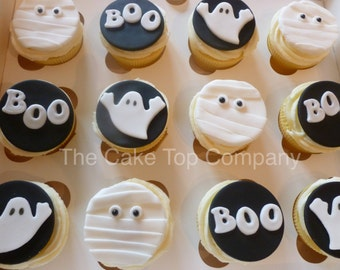 Edible Fondant Halloween Cupcake Toppers 4 of each design mummies, ghosts and BOO
