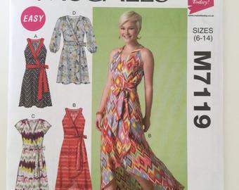 wrap dress pattern, McCalls sewing pattern M7119, cross over dress in 4 styles, unused pattern, size 6-14