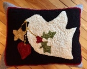 """Hooked rug wool pillow, """"Let There Be Peace"""" , artisan made, holiday decoration , 20 x 16,  gift, dove and holly, Shaker Village yarn"""