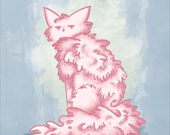 Pink Cat Digital Painting