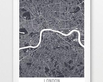 London City Urban Map Poster, London Street Map Print, Grey London United Kingdom England, Modern Wall Art, Home Office Decor, Printable Art
