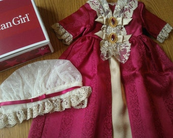 American Girl Felicity's Gala Gown with Mob Cap ... Exquisite! ... New in Original Box ... Never Used ... Retired