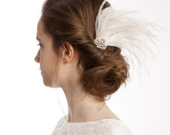 Art Deco Hair Comb with Feathers - Vintage Wedding Hair Accessory - Crystal Hair Comb - 1930s style Bridal Headpiece