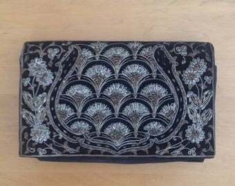 1940s Black Velvet Clutch with Silver & Gold Wire Embroidery/Made in India/Evening Bag/Evening Purse