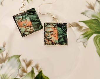 Mosaic stained glass earrings jade green and bright copper Van Gogh mosaic tiles set in resin