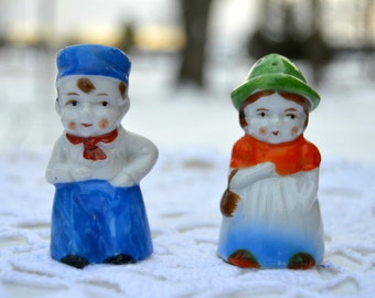 Vintage Porcelain Hand Painted Salt and Pepper Shakers