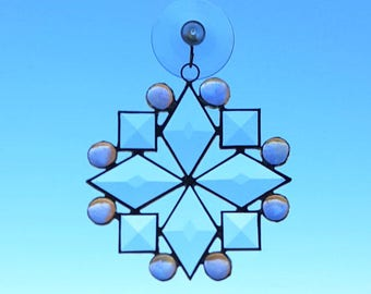 Beveled Stained Glass Snowflake Suncatcher with Pink Glass Nuggets, Snowflake Ornament, Christmas Decoration, Teacher Gift