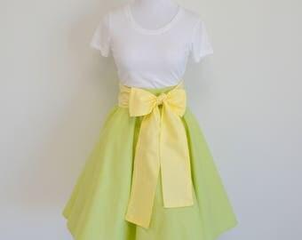 The Princess and the Frog Tiana Inspired Light Green Circle Skirt and Light Yellow Sash
