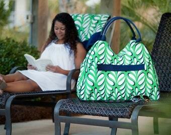 Green Beach Bag - Green Diaper Bag - Green Bag - Trendy Bag - Monogrammed Bag - Beach Bag - Bag - Bag for the beach - Summer Bag -
