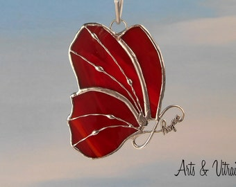 """Stained glass butterfly red suncatcher - body HOPE INFINITY - 4"""" x 3"""" (9.6 x 7 cm), red stained glass hanging - stained glass cling"""
