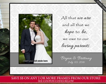 Gray Parents Wedding Gift - Personalized Picture Frame - Wedding Photo Frame Personalized - In Laws Gift - Parents Thank You Gift