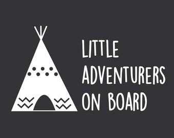 Boho Baby On Board Customized Decal For Kids Little Adventurers On Board Baby On Board With Teepee, Bumper Sticker, Tipi Bumper Sticker