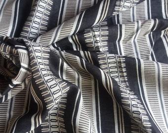 Thai Double Gauze. Black/white/tan fancy stripe. 1 metres/1.1 yards