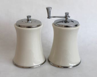 Vintage LENOX Solitaire China Salt Shaker & Pepper Mill, Ivory China with Platinum Trim, made in USA, China Serving Accessory, Wedding Gift