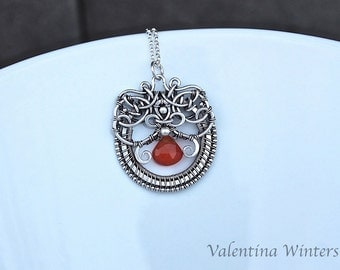 silver jewelry, sterling silver pendant, handmade, wire wrapped, Carnelian gemstone, natural gemstone,wire wrapped necklace,handmade