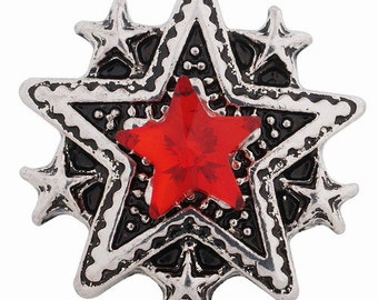 KC9052  Multi Star Silver Plated Snap with Red Crystal Star Center