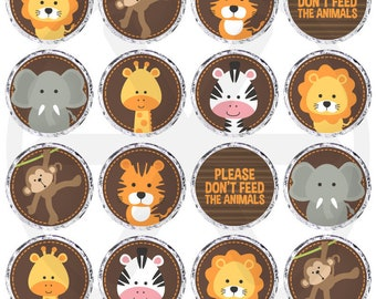 Safari Candy Labels. Printable Round Stickers - 0.8 inch Circles -Kiss Stickers. Birthday - Baby Shower Favors - Round Images Collage Sheet