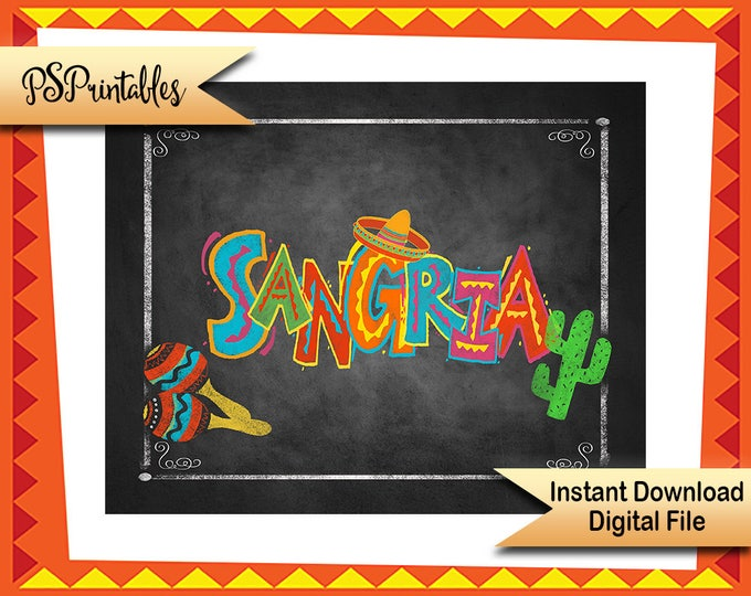 Fiesta Party decor, Printable Fiesta Sangria Bar Sign, Sangria Sign, Fiesta Birthday sign, Wedding fiesta sign, Cinco De Mayo Decoration