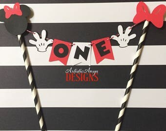 Minnie Mouse Birthday Age Cake Bunting Topper - Oh Two-dles Smash Cake - Mickey Mouse Clubhouse Party - Red Black White Decorations