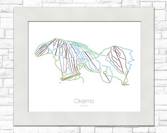 Okemo Map Vermont VT Ski Snowboard Trail Map Art --- Print, Poster, Picture --- Frame, Gift, Present --- Resort, Mountain, Snow, Winter