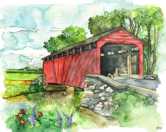 "Covered Bridge Watercolor Painting - Print titled,""Covered Bridge"", Watercolor Painting, Bridge, Watercolor Landscape, Landscape Painting"