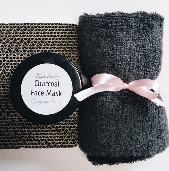 "Charcoal Mask (2oz) with Oversized Bamboo Washcloth (14"" x 14"") 
