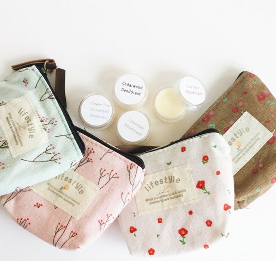 SAMPLER | Deodorant Sample Set in Zip Carrier | Unscented, Coconut, Lavender, Cedarwood/Orange