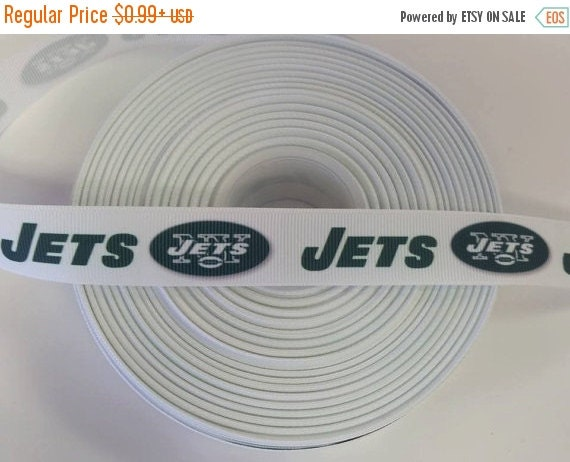 "SUPER SALE NEW York Jets 7/8"" 22mm Grosgrain Hair Bow Craft Ribbon 781863"