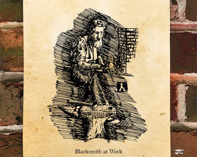 "KillerBeeMoto: Limited Hand Drawn Print of ""Blacksmith at Work"" Print 1 of 100"