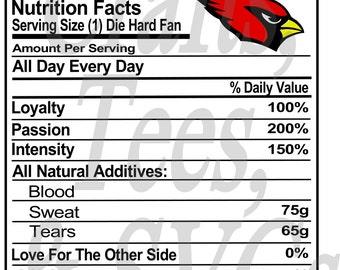 Cardinals Fans Nutrition Sheet  SVG FIle