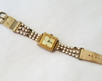 Vintage, Chateau, Wrist Watch, Wristwatch, Rhinestone, Bracelet, White, for Repair, Jewelry, Beading, Supply, Supplies
