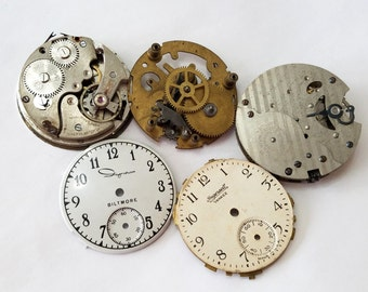 Vintage, Pocket Watch, Lot, Ingersoll, Minerva, Ingraham, Biltmore, Parts, Jewelry, Beading, Supply, Supplies