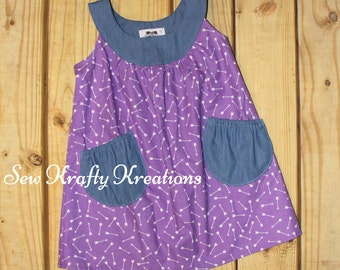 Girl's Jumper Dress - Purple with White Arrows and Denim Yoke