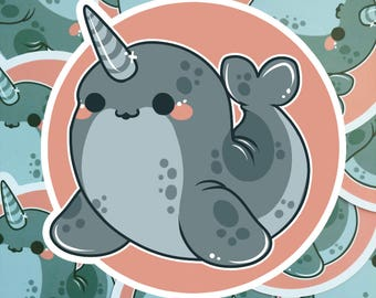 Kawaii Narwhal Nugget Sticker ( cute chibi stickers whale )