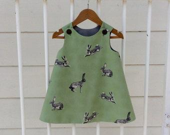 Bunny pinafore, girls easter dress, size 6-12 months, handmade baby girls dress.