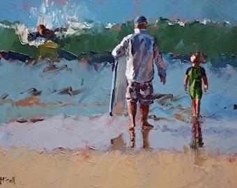 Coastal Home Decor | art print | father son | surfing | giclee prints | art decor | beach house | modern | wall art.