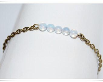 Bracelet brass opal glass Castle minimal bronze jewelry bracelet articulated bronze opal glass bracelet minimalistik