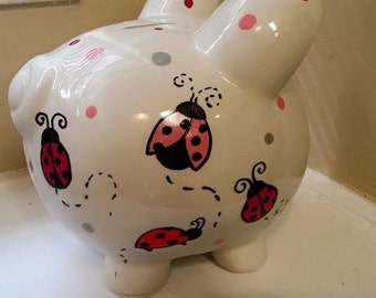 Personalized Lady Bug Piggy Bank, Completely Custom Piggy Bank, Match Any Theme, Any Design
