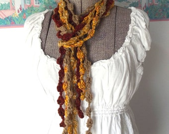 Crochet Skinny Scarf Bobbles Berries Autumn Colors Gold Rust Year Round Wear Mix and Match for Different Options
