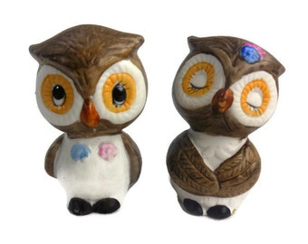 Owl Salt Pepper Shaker Set Brown Ceramic Made in Korea Vintage Kitchen Collectible