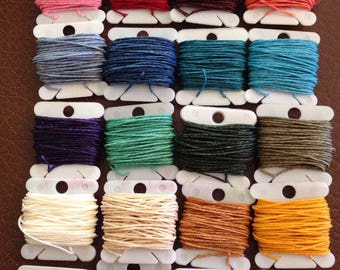 7 ply 5 yards THICK  Waxed Irish Linen Crawford Cord 1.02mm White Natural Brown Black and more