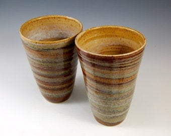 """Honey Rose & Carmel Glazed Vase / Accent Piece.  This beautiful vase will bring beauty to your home. 5.75H"""" x 8"""" at mouth"""