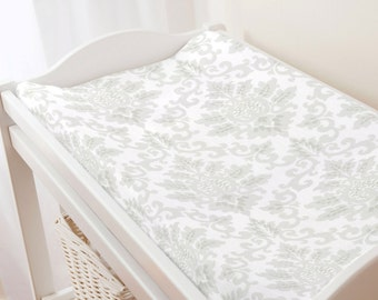 Carousel Designs French Gray Damask Changing Pad Cover