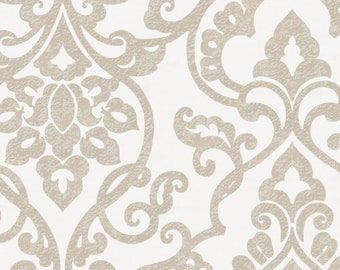 Taupe Filigree Organic Fabric - By The Yard -  Girl / Boy / Neutral