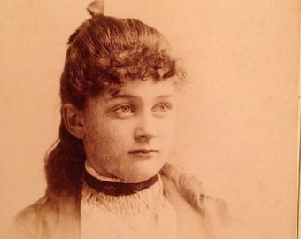 ON SALE Jackson MI Michigan 1800's antique cabinet card photograph of a young girl woman -- old vintage photo ephemera