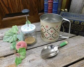 Set of 3 Vintage Mid Century Kitchen Utensils - A&J Flour Scoop, Androck Flour Sifter, Nut Chopper