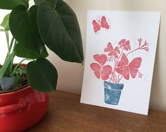 Butterfly Shamrock -Red. Original Handprinted lino cut.