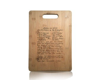 Custom Engraved Family Recipe Cutting Board - Handwritten Recipe Cutting Board - Grandmother's Recipe Cutting Board - Bamboo Cutting Board